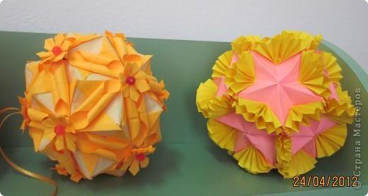 Кактус - кусудама супер шар. Очень понравился моим мальчишкам (воспитанникам детского дома) Раньше они любили заниматься модульным оригами, но вот , научившись собирать кусудаму, к модулям подостыли. фото 3