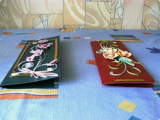 Приветик Всем из Одессы!!! Я к Вам с открыточками. Дочка попросила сделать ей открыточки для друзей. Вот они перед Вами. Золотистые полосочки от рамочки, которая разбилась, они были в ней, это сразу приспособилась в открыточки. фото 9