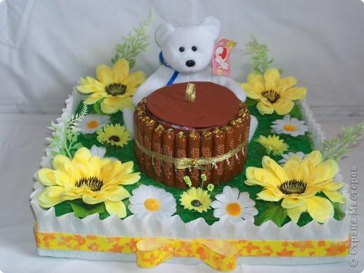 Медвежонок на полянке ест мёд фото 1