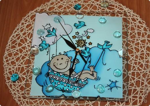 Часики к рождению Малышки.Витраж. фото 7