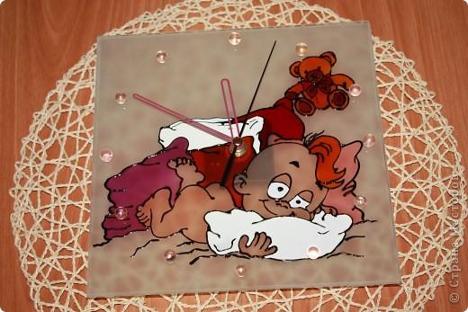 Часики к рождению Малышки.Витраж. фото 1
