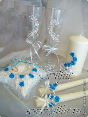 Свадебный набор Голубой и айвори. фото 1