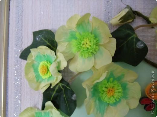 Попугайчик выполнен в технике квиллинг. Цветы - бумагопластика. Листочки от искуственного цветка. фото 3