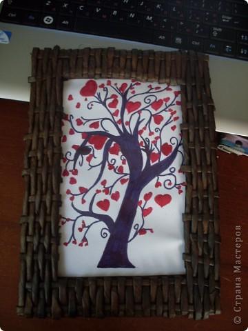 подарок любимому( плетеная рамка и рисунок)