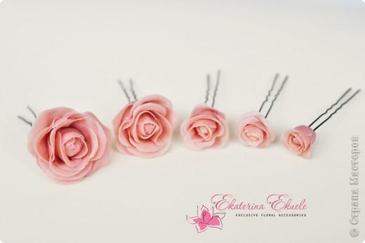 Розы - украшение для прически невесты фото 2