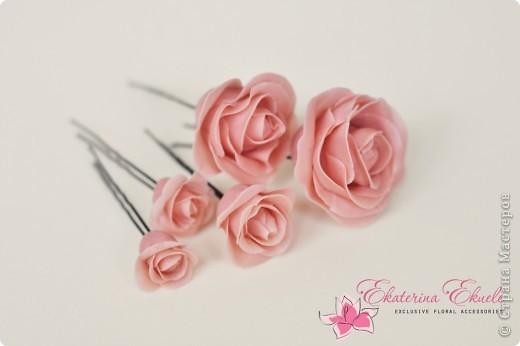 Розы - украшение для прически невесты фото 3