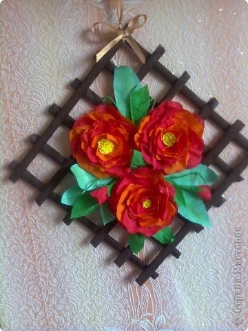 Панно с пионами (я очень надеюсь, что цветочки похожи на пионы) фото 1