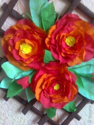 Панно с пионами (я очень надеюсь, что цветочки похожи на пионы) фото 2