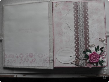Миниальбом в подарок моей дочери. Она очень любит розовое, а так как у меня на данный момент не оказалось под рукой розовой бумаги, я решила попробовать сделать ее сама фото 3
