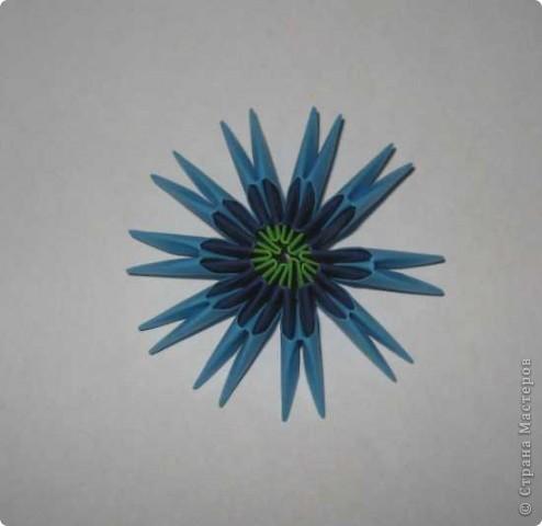 Для изготовления одного цветка василька вам потребуется: 70 голубых, 10 синих и 10 зеленых треугольных модулей и для сердцевинки цветка 1 модуль кусудамы синего цвета. фото 3