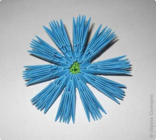 Для изготовления одного цветка василька вам потребуется: 70 голубых, 10 синих и 10 зеленых треугольных модулей и для сердцевинки цветка 1 модуль кусудамы синего цвета. фото 8