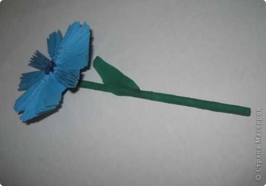 Для изготовления одного цветка василька вам потребуется: 70 голубых, 10 синих и 10 зеленых треугольных модулей и для сердцевинки цветка 1 модуль кусудамы синего цвета. фото 18