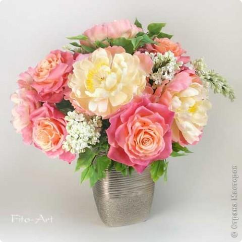 Букет Майский с пионами, розами и сиренью фото 4