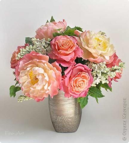 Букет Майский с пионами, розами и сиренью фото 1