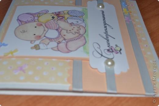 Подруга попросила для своих знакомых сделать торт из памперсов на рождение дочери. К торту я решила сделать открытку,вернее решила начать с открытки. http://stranamasterov.ru/node/362766 здесь первый мой торт фото 4