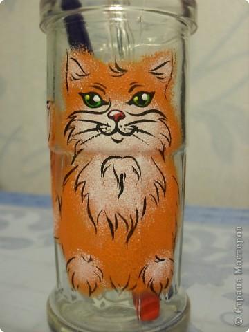 стакан для карандашей с рыжим котиком