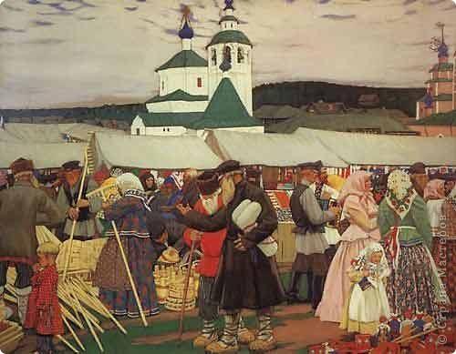 Б.М.Кустодиев. «Ярмарка». 1906 г.