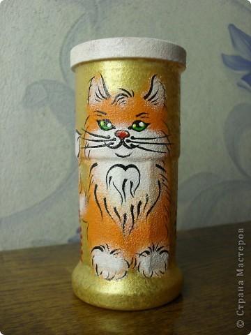 стакан для карандашей с рыжим котиком фото 3