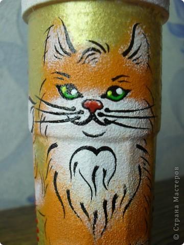 стакан для карандашей с рыжим котиком фото 4