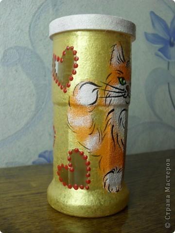 стакан для карандашей с рыжим котиком фото 5