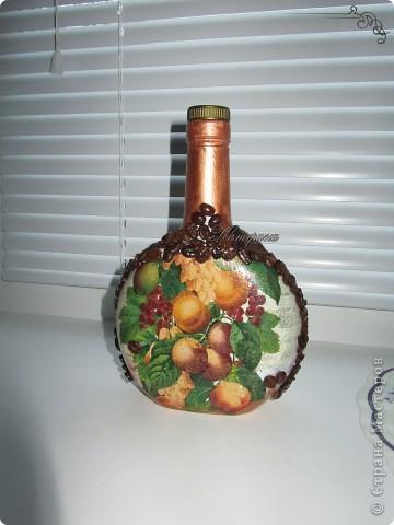 Материал: стеклянная бутылка, салфетка, кофейные зёрна, акриловые краски, акриловый лак. фото 1