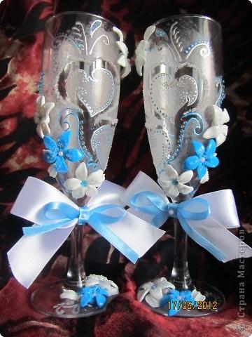 Декор предметов Мастер-класс Свадьба Мой первые свадебные бокалы+бонус Пластика фото 1