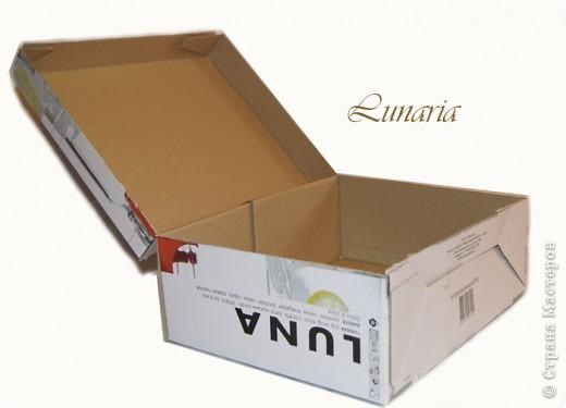 В продолжение темы о сундучках и шкатулках для рукоделия, представляю новый сундучок, сделанный из коробки. Размер 30х25х15 см. фото 3