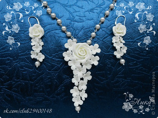 """Свадебные украшения """"Каскад"""" с розами фото 3"""