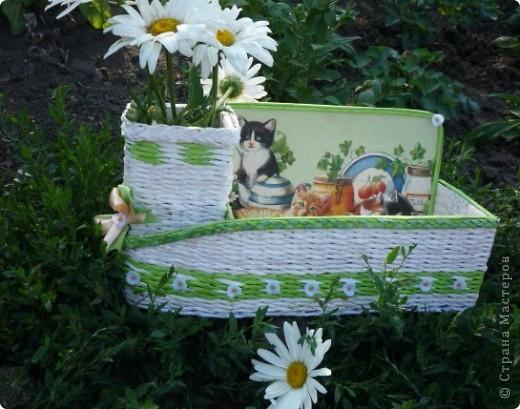 Летнее настроение. Давно обещала дочке под косметику коробочку, а так как она у меня кошатница еще та, собирает  кошечек в разных видах, то и на коробочке кошки прижились. фото 1