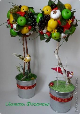 Всем привет!!!!!!!!!!!! Почти близнецы)) Два фруктово-овощных топиария. На кроне чего только нет: яблоки, груши перец (соленое тесто), цветы (холодный фарфор),чеснок (вата, гречка, полиэтилен, нитки), виноград, черешня, вишня, листья, клубника (покупала). фото 1