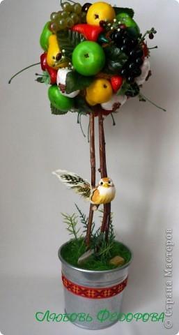 Всем привет!!!!!!!!!!!! Почти близнецы)) Два фруктово-овощных топиария. На кроне чего только нет: яблоки, груши перец (соленое тесто), цветы (холодный фарфор),чеснок (вата, гречка, полиэтилен, нитки), виноград, черешня, вишня, листья, клубника (покупала). фото 2