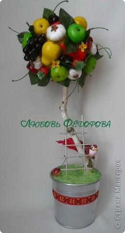 Всем привет!!!!!!!!!!!! Почти близнецы)) Два фруктово-овощных топиария. На кроне чего только нет: яблоки, груши перец (соленое тесто), цветы (холодный фарфор),чеснок (вата, гречка, полиэтилен, нитки), виноград, черешня, вишня, листья, клубника (покупала). фото 4