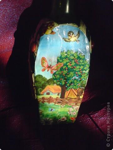Моя первая проба.  Бутылочка в технике пейп-арт , автор техники Татьяна Сорокина, с элементами из холодного фарфора.  фото 4