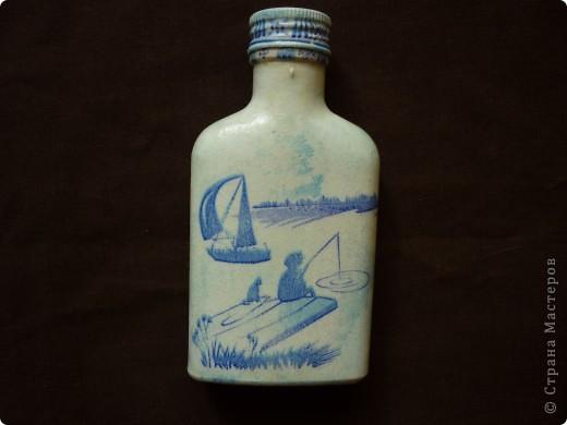 Попала в руки бутылочка,малюсенькая.В мозгу зашевелились идеи.Есть у нас в коллективе рыбачка.Не удобно же женщине большую емкость для согревающего напитка дарить.А 100 гр для сугрева в самый раз. фото 2