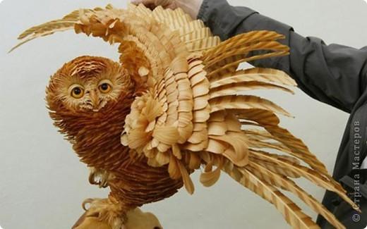 Сибирский скульптор Сергей Бобков работает обычным школьным учителем самой обычной провинциальной школы.  Он делает скульптуры зверей из стружки в натуральную величину.  С помощью стружки он даже имитирует шерсть и пух. Потрясающие работы. фото 14