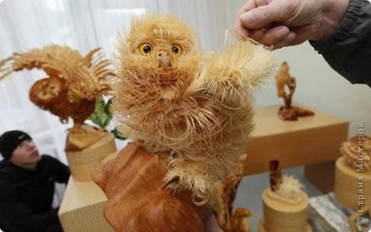 Сибирский скульптор Сергей Бобков работает обычным школьным учителем самой обычной провинциальной школы.  Он делает скульптуры зверей из стружки в натуральную величину.  С помощью стружки он даже имитирует шерсть и пух. Потрясающие работы. фото 1