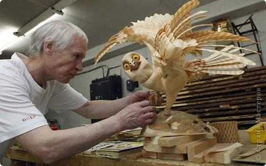 Сибирский скульптор Сергей Бобков работает обычным школьным учителем самой обычной провинциальной школы.  Он делает скульптуры зверей из стружки в натуральную величину.  С помощью стружки он даже имитирует шерсть и пух. Потрясающие работы. фото 9