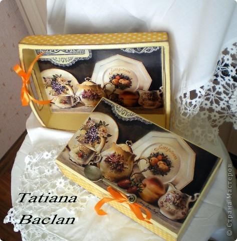 Чайный набор. Короб для сладостей и поднос. фото 3