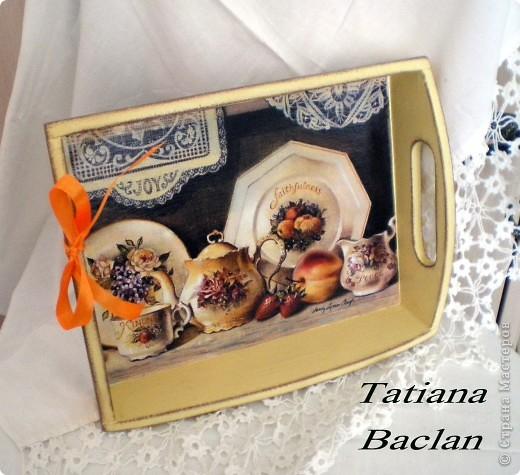 Чайный набор. Короб для сладостей и поднос. фото 6