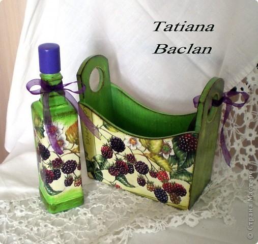 Наборчик для ванной или для кухни. Бутылочка стеклянная предназначена для лосьона, масла либо для уксуса. фото 1