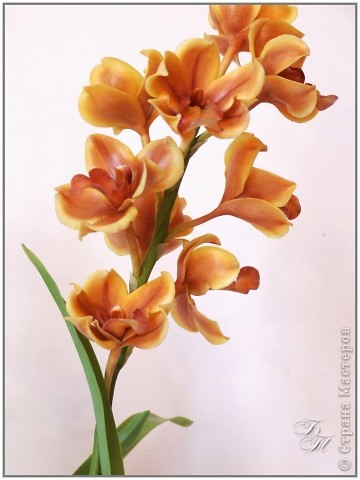 Орхидея цимбидиум. Пожалуй, на сегодняшний момент из всех своих работ эту я полюбила больше всех (хотя и она не без недостатков)))) Ну, и еще ванду))) фото 2