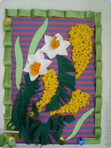 Работа к 8 Марта из гофрированной бумаги,картона и тесьмы. фото 1