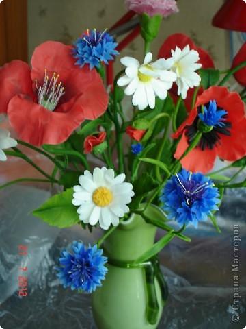 """Сегодня выходной, поэтому решила показать еще один букет, который сделала некоторое время назад.  Это """"Полевые цветы"""" - ромашки, маки, васильки... фото 2"""