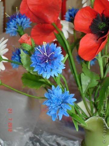 """Сегодня выходной, поэтому решила показать еще один букет, который сделала некоторое время назад.  Это """"Полевые цветы"""" - ромашки, маки, васильки... фото 3"""