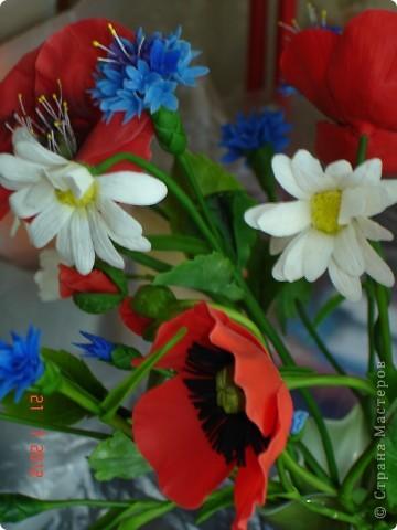 """Сегодня выходной, поэтому решила показать еще один букет, который сделала некоторое время назад.  Это """"Полевые цветы"""" - ромашки, маки, васильки... фото 4"""