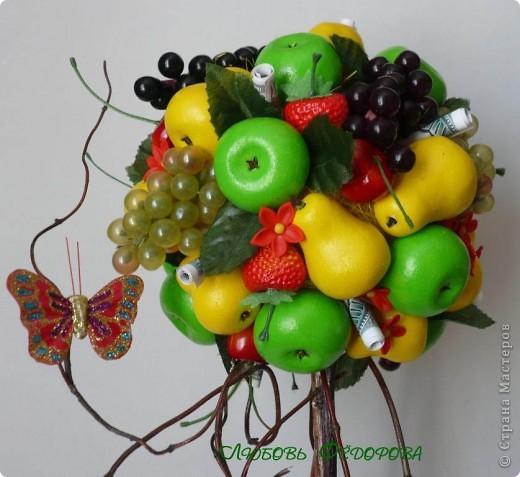 """Всем жителям творческой страны - привет!!!!!!!!!!!!!!! Хочу показать две разноплановые работы. Первая - это вариант фруктового дерева, подарочный вариант))) Второе-текстильное, назвала """"Викторианская роза"""". фото 6"""