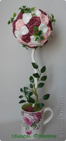 """Всем жителям творческой страны - привет!!!!!!!!!!!!!!! Хочу показать две разноплановые работы. Первая - это вариант фруктового дерева, подарочный вариант))) Второе-текстильное, назвала """"Викторианская роза"""". фото 8"""