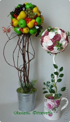 """Всем жителям творческой страны - привет!!!!!!!!!!!!!!! Хочу показать две разноплановые работы. Первая - это вариант фруктового дерева, подарочный вариант))) Второе-текстильное, назвала """"Викторианская роза"""". фото 1"""