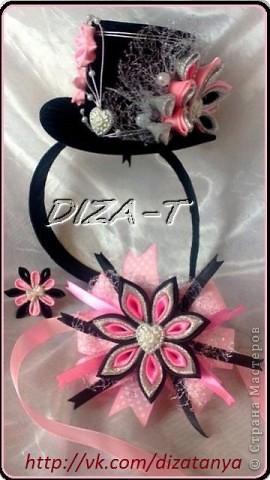 комплект мини-шляпка канзаши, повязка на ленте и кольцо фото 1