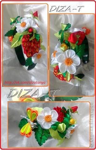 комплект мини-шляпка канзаши, повязка на ленте и кольцо фото 16